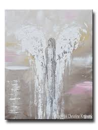 Spiritual Home Decor Original Abstract Angel Painting Beige White Pink Textured Wall
