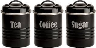 black kitchen canister set amazon com typhoon vintage kit black steel storage canister set