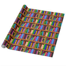book wrapping paper library book shelf pattern for readers wrapping paper zazzle