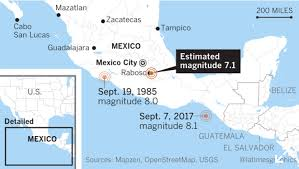 map central mexico at least 220 killed in magnitude 7 1 earthquake in central mexico
