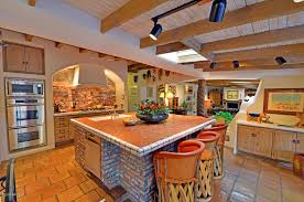 Mexican Tile Kitchen Ideas Kitchen With Flush Terracotta Tile Floors In Az