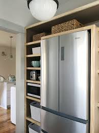 how to build a cabinet around a refrigerator how to build pantry shelves house
