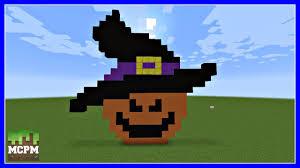 how to build a halloween pumpkin witch pixel art in minecraft