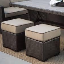 furniture rattan ottoman storage box color light brown with