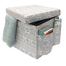 seville classics foldable storage bench ottoman charcoal gray sit store folding storage ottoman in silver bed bath beyond