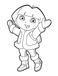 dora coloring pages winter clothes coloringstar