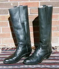 vintage olathe tall cowboy western boots black shark skin mens