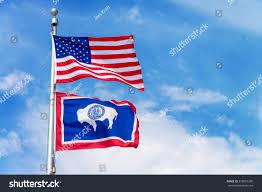 Flying Flag American Flag Flying Flag Pole Wyoming Stock Photo 378083206