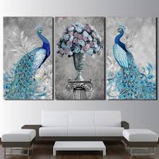 online get cheap couple posters aliexpress com alibaba group canvas wall art modular pictures frame home decor living room 3 pieces peacock couple painting hd printed flowers posters pengda