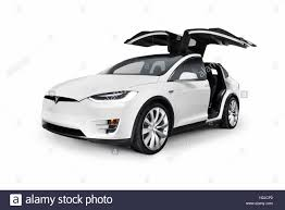 suv tesla white 2017 tesla model x luxury suv electric car with open falcon