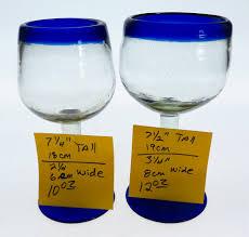 wine glasses hand blown 14oz blue rim tulip shape 6 made in mexico