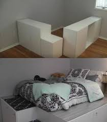 diy platform bed with storage from ikea cabinets ikea diy bed