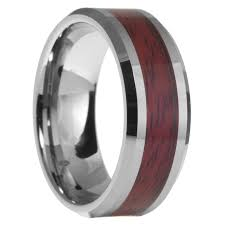 beveled ring 8mm tungsten carbide mens wood inlay beveled edges wedding band