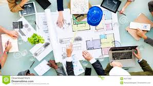 architecture designer architecture design messy interior meeting concept stock photo