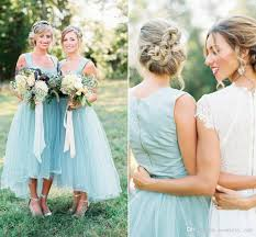 blue gray bridesmaid dresses summer light blue tea length bridesmaid dresses square neck