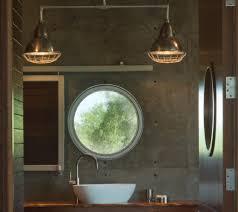 mirror over window bathroom modern with barn door single sink