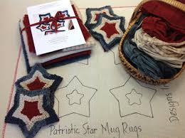 Red White And Blue Rugs Rug Hooking Kit Red White And Blue Mug Rugs K114 Diy Patriotic