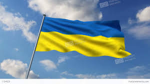 Ukraine Flag Ukrainian Flag Waving Against Time Lapse Clouds Background Stock