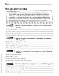using an encyclopedia 5th 10th grade worksheet lesson planet