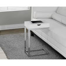 Glossy White Desk by Monarch Specialties Accent Tables Living Room Furniture The