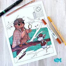 whooodunnit sherlock holmes owl coloring page