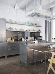 kitchen industrial scandinavian kitchen features all stainless kitchen industrial scandinavian kitchen features all stainless steel cabinet and island also chalkboard menu backsplash plus
