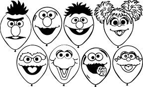 all sesame street balloons coloring page wecoloringpage
