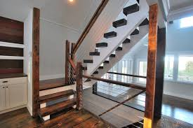 Fusion Banister Finished Houses Interiors Rustic Staircase New York By