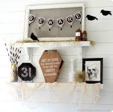 shelf decorations black gold white art deco inspired halloween shelf decor