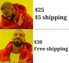 Memes Drake - drake meme online shopping 25 dollars plus 5 dollars shiping no