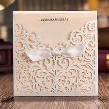 lace wedding invitations wishmade 50x white square laser cut tri fold lace wedding