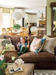 February House Fluffing Leather Copper  Wood Family Room - Family room sofa