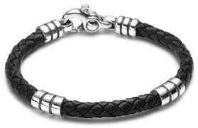 leather sterling bracelet images Jewelry collection sterling silver men 39 s leather stratus design jpg