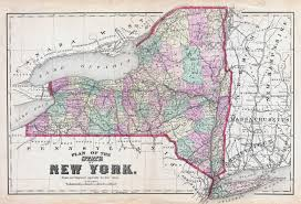 A Map Of New York City by Large Detailed Old Administrative Map Of New York State U2013 1873