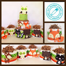 woodland themed baby shower decorations set of five mini woodland theme cakes woodland theme baby