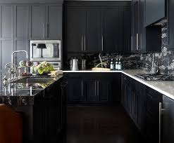 Marble Kitchen Designs Noir Kitchen Cabinets With White Marble Countertops Contemporary