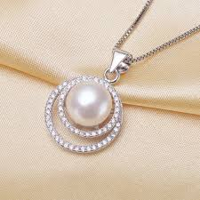 silver box necklace images Genuine freshwater pearl 925 sterling silver set zircon circle jpg