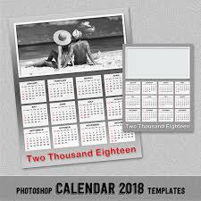 2018 annual photo calendar template photoshop template