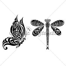 design butterfly and dragonfly gl stock images