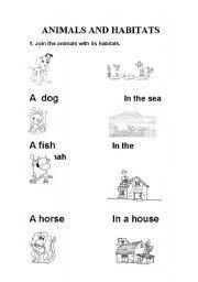 english teaching worksheets animal habitats