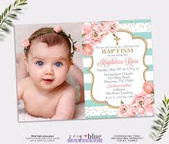 Invitation Cards Baptism Baptism Invitation Blush Pink And Turquoise Baptism