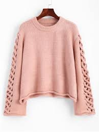 pink sweaters oversized braided sleeve pullover sweater pink sweaters one size