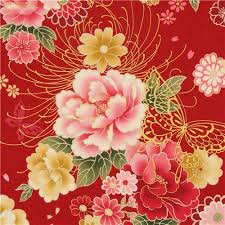 Flower Fabric Design Red Butterfly And Flower Fabric With Gold By Kokka Cute Fabric