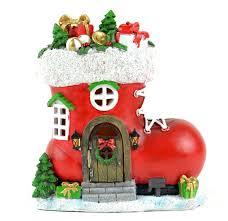 fairy garden christmas miniature christmas red santa boot house
