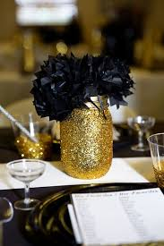 black and gold bridal shower gold glitter jar and gold