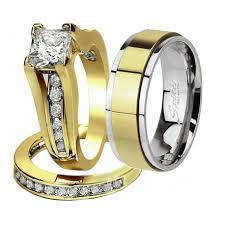 mens stainless steel wedding bands his hers 3 pcs gold plated men s matching band women s princess