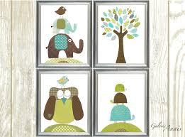 boy nursery decor blue green brown nursery wall art baby art zoom