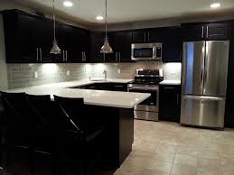 white glass tile backsplash with dark cabinets nyfarms info