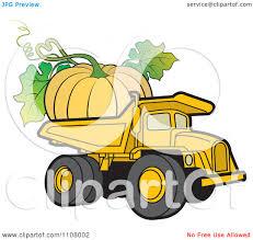clipart yellow dump truck hauling a huge pumpkin royalty free