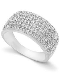 silver diamond rings pave diamond ring in sterling silver 1 2 ct t w rings